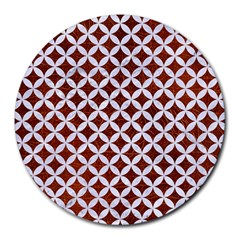 Circles3 White Marble & Reddish Brown Leather Round Mousepads by trendistuff