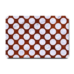 Circles2 White Marble & Reddish Brown Leatherer Small Doormat  by trendistuff