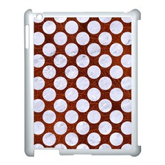 Circles2 White Marble & Reddish Brown Leatherer Apple Ipad 3/4 Case (white) by trendistuff