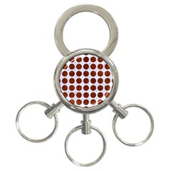 Circles1 White Marble & Reddish Brown Leather (r) 3 Ring Key Chains by trendistuff