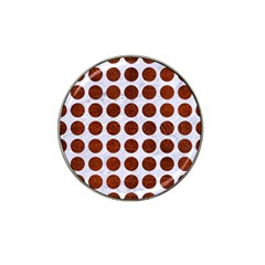 Circles1 White Marble & Reddish Brown Leather (r) Hat Clip Ball Marker by trendistuff