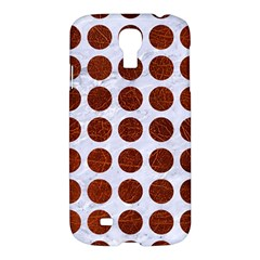 Circles1 White Marble & Reddish Brown Leather (r) Samsung Galaxy S4 I9500/i9505 Hardshell Case by trendistuff