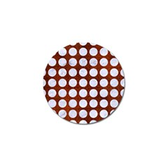 Circles1 White Marble & Reddish Brown Leather Golf Ball Marker by trendistuff