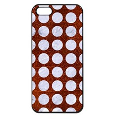 Circles1 White Marble & Reddish Brown Leather Apple Iphone 5 Seamless Case (black) by trendistuff