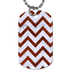 Chevron9 White Marble & Reddish Brown Leather (r) Dog Tag (two Sides) by trendistuff
