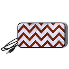 Chevron9 White Marble & Reddish Brown Leather (r) Portable Speaker by trendistuff
