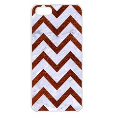 Chevron9 White Marble & Reddish Brown Leather (r) Apple Iphone 5 Seamless Case (white)