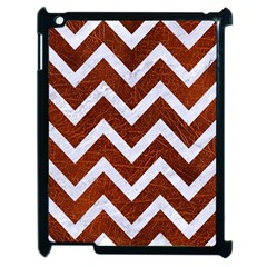 Chevron9 White Marble & Reddish Brown Leather Apple Ipad 2 Case (black) by trendistuff