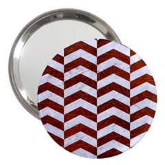 Chevron2 White Marble & Reddish Brown Leather 3  Handbag Mirrors by trendistuff