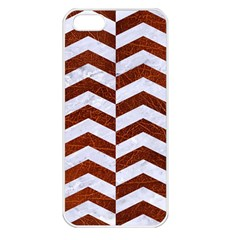 Chevron2 White Marble & Reddish Brown Leather Apple Iphone 5 Seamless Case (white) by trendistuff