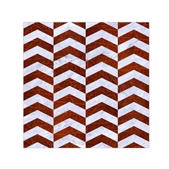 Chevron2 White Marble & Reddish Brown Leather Small Satin Scarf (square) by trendistuff
