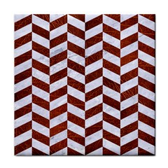 Chevron1 White Marble & Reddish Brown Leather Tile Coasters by trendistuff