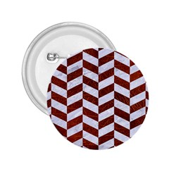Chevron1 White Marble & Reddish Brown Leather 2 25  Buttons by trendistuff