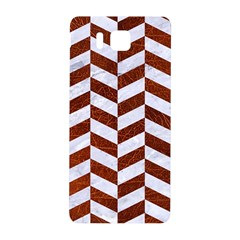 Chevron1 White Marble & Reddish Brown Leather Samsung Galaxy Alpha Hardshell Back Case by trendistuff