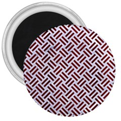 Woven2 White Marble & Red Wood (r) 3  Magnets by trendistuff