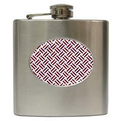 Woven2 White Marble & Red Wood (r) Hip Flask (6 Oz) by trendistuff