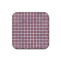 Woven1 White Marble & Red Wood (r) Rubber Coaster (square)