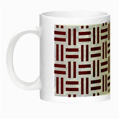 Woven1 White Marble & Red Wood (r) Night Luminous Mugs by trendistuff