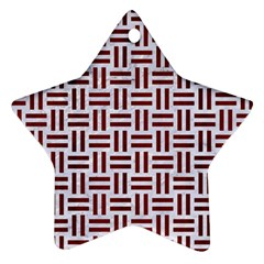 Woven1 White Marble & Red Wood (r) Star Ornament (two Sides) by trendistuff