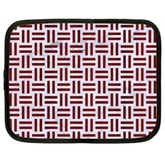 Woven1 White Marble & Red Wood (r) Netbook Case (xl)  by trendistuff