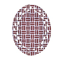 Woven1 White Marble & Red Wood (r) Ornament (oval Filigree) by trendistuff