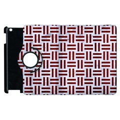 Woven1 White Marble & Red Wood (r) Apple Ipad 3/4 Flip 360 Case by trendistuff