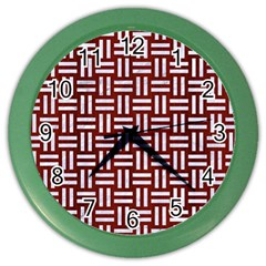 Woven1 White Marble & Red Wood Color Wall Clocks by trendistuff