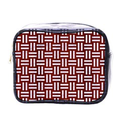 Woven1 White Marble & Red Wood Mini Toiletries Bags by trendistuff
