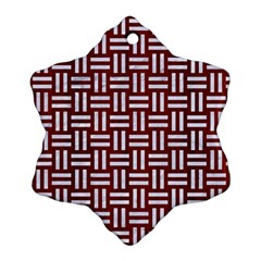 Woven1 White Marble & Red Wood Ornament (snowflake) by trendistuff