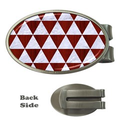Triangle3 White Marble & Red Wood Money Clips (oval)  by trendistuff