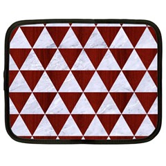 Triangle3 White Marble & Red Wood Netbook Case (xl)  by trendistuff