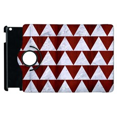 Triangle2 White Marble & Red Wood Apple Ipad 2 Flip 360 Case by trendistuff