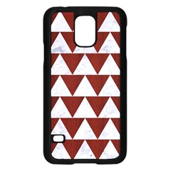 Triangle2 White Marble & Red Wood Samsung Galaxy S5 Case (black) by trendistuff