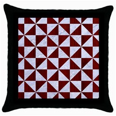 Triangle1 White Marble & Red Wood Throw Pillow Case (black)