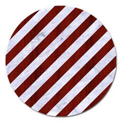 Stripes3 White Marble & Red Wood (r) Magnet 5  (round) by trendistuff