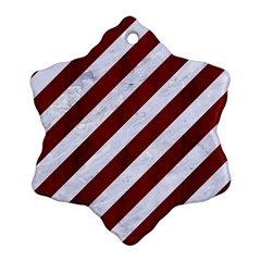 Stripes3 White Marble & Red Wood (r) Snowflake Ornament (two Sides) by trendistuff