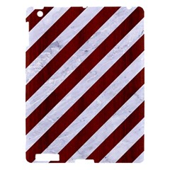 Stripes3 White Marble & Red Wood (r) Apple Ipad 3/4 Hardshell Case by trendistuff