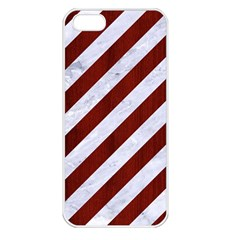 Stripes3 White Marble & Red Wood (r) Apple Iphone 5 Seamless Case (white)