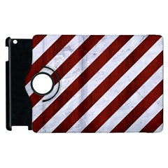 Stripes3 White Marble & Red Wood (r) Apple Ipad 2 Flip 360 Case by trendistuff