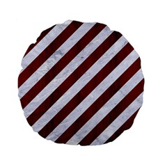 Stripes3 White Marble & Red Wood (r) Standard 15  Premium Flano Round Cushions by trendistuff