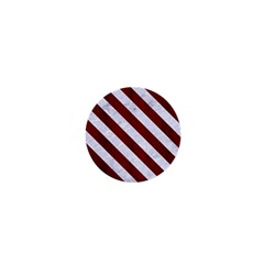 Stripes3 White Marble & Red Wood 1  Mini Buttons
