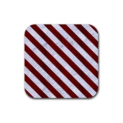 Stripes3 White Marble & Red Wood Rubber Coaster (square)