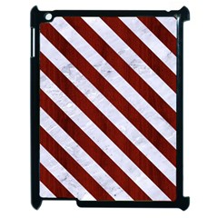 Stripes3 White Marble & Red Wood Apple Ipad 2 Case (black) by trendistuff