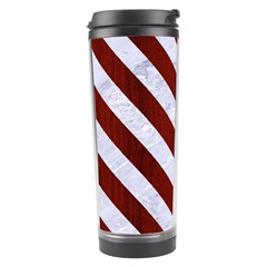 Stripes3 White Marble & Red Wood Travel Tumbler by trendistuff