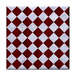 Square2 White Marble & Red Wood Tile Coasters by trendistuff