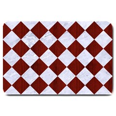 Square2 White Marble & Red Wood Large Doormat  by trendistuff