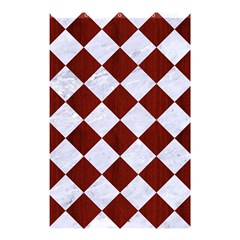 Square2 White Marble & Red Wood Shower Curtain 48  X 72  (small)  by trendistuff