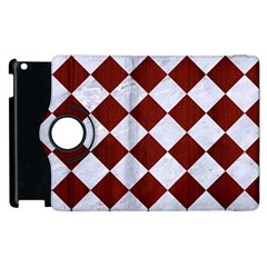 Square2 White Marble & Red Wood Apple Ipad 2 Flip 360 Case by trendistuff