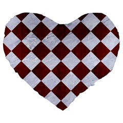 Square2 White Marble & Red Wood Large 19  Premium Heart Shape Cushions by trendistuff