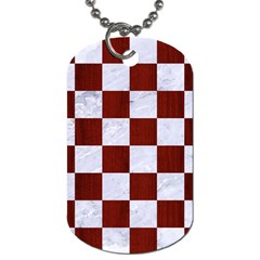 Square1 White Marble & Red Woodsquare1 White Marble & Red Wood Dog Tag (two Sides) by trendistuff